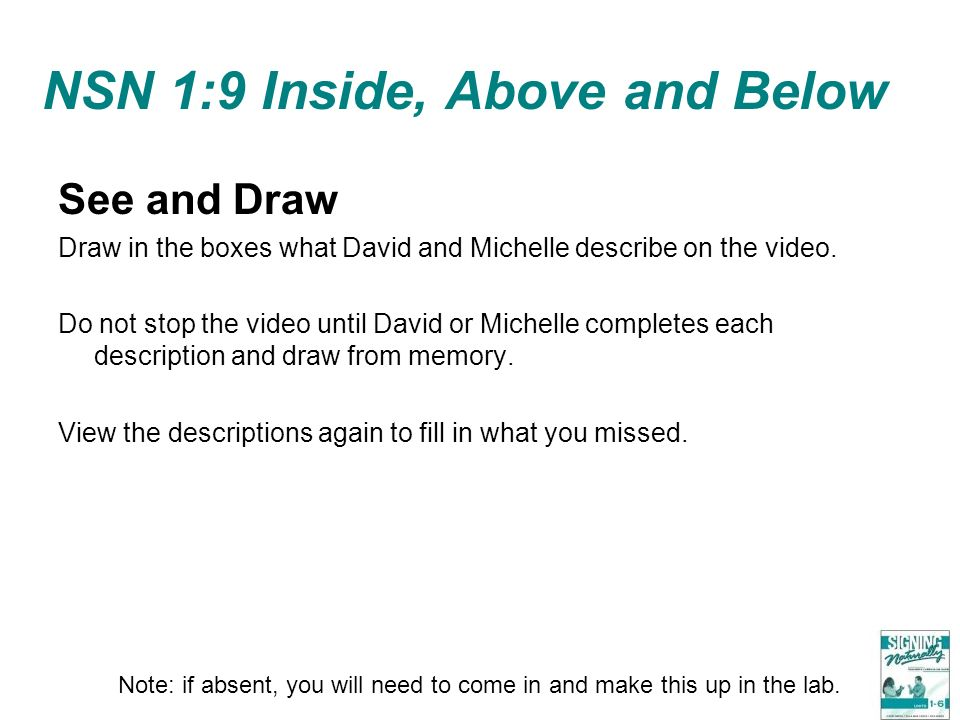 NSN 1:9 Inside, Above and Below See and Draw Draw in the boxes what David and Michelle describe on the video. Do not stop the video until David or Mic