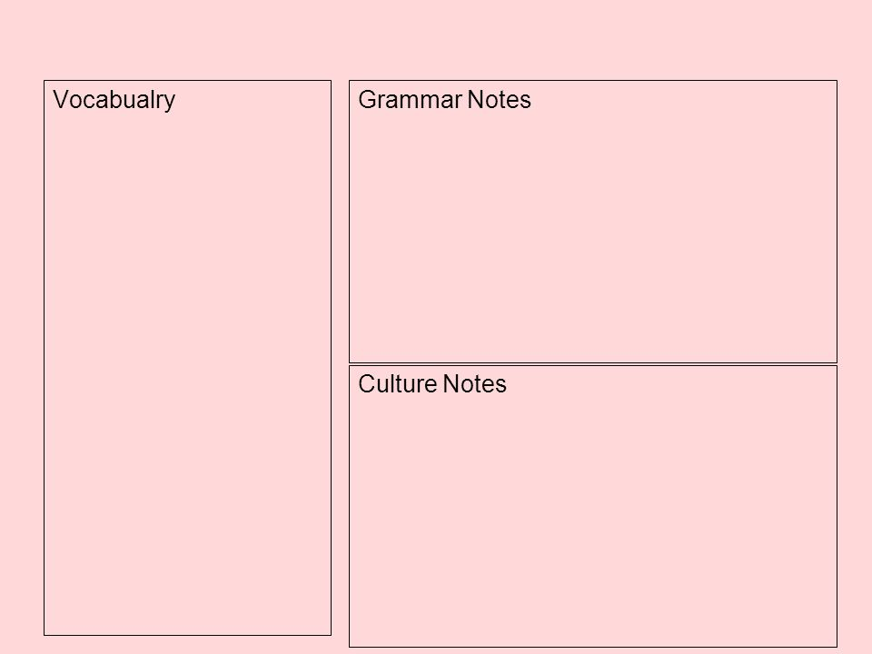 Culture Notes VocabualryGrammar Notes