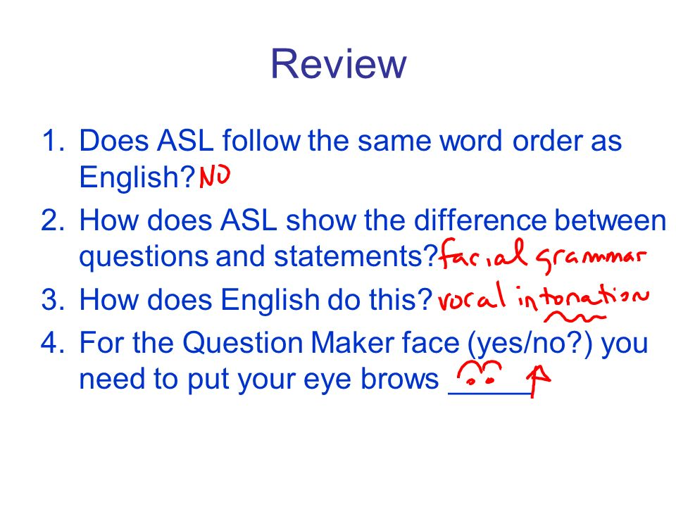 Review 1.Does ASL follow the same word order as English? 2.How does ASL show the difference between questions and statements? 3.How does English do th