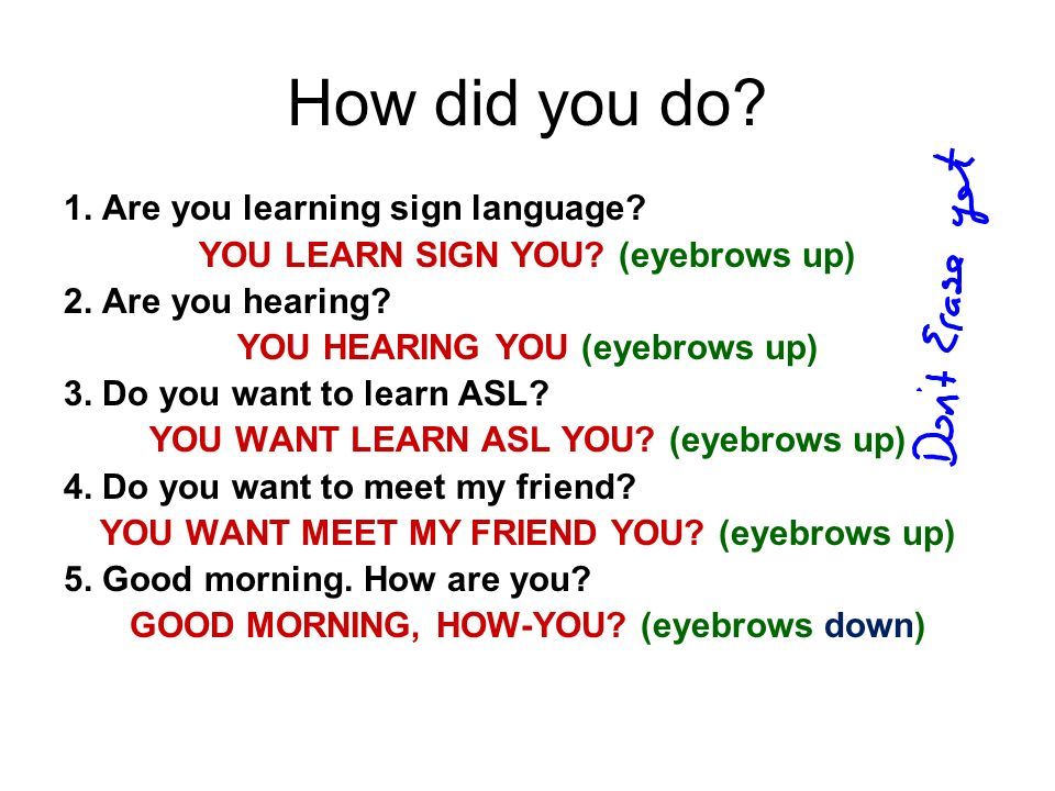 How did you do? 1. Are you learning sign language? YOU LEARN SIGN YOU? (eyebrows up) 2. Are you hearing? YOU HEARING YOU (eyebrows up) 3. Do you want