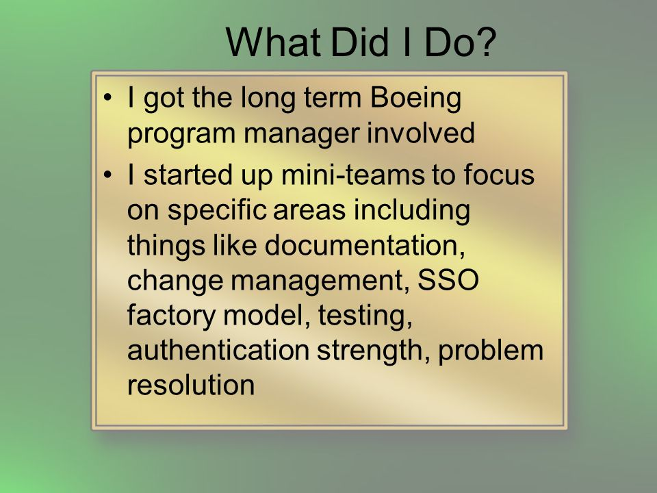 What Did I Do? I got the long term Boeing program manager involved I started up mini-teams to focus on specific areas including things like documentat
