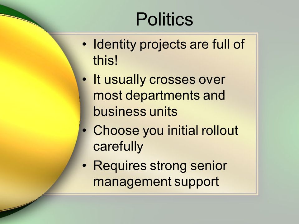 Politics Identity projects are full of this.