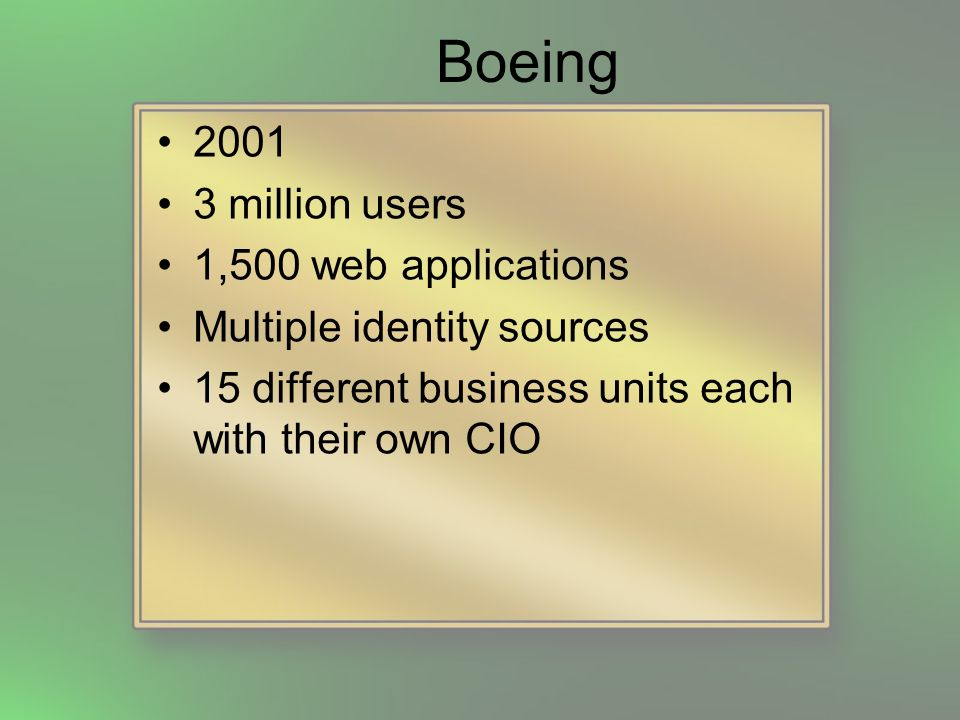 Boeing Many different methods of authentication –AD and Sun directories (uid and password) –RACF –Proximity badges –Digital certs