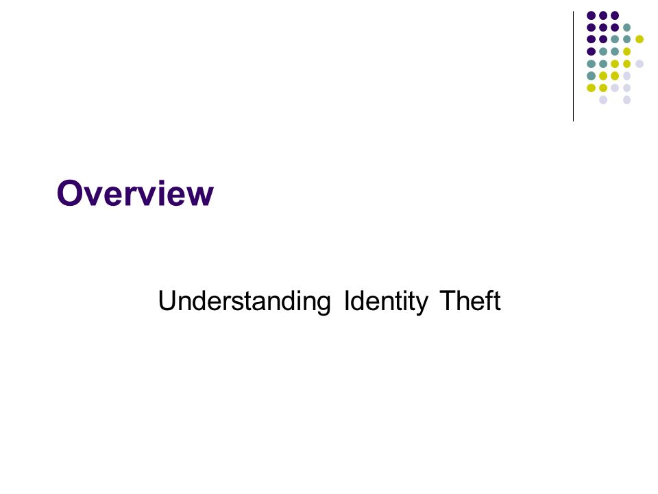 Overview Understanding Identity Theft