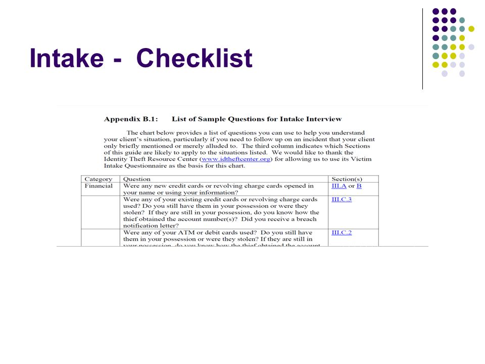 Intake - Checklist