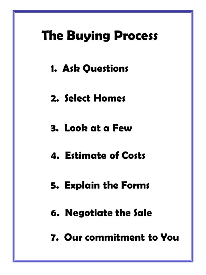 The Buying Process 1. Ask Questions 2. Select Homes 3. Look at a Few 4. Estimate of Costs 5. Explain the Forms 6. Negotiate the Sale 7. Our commitment