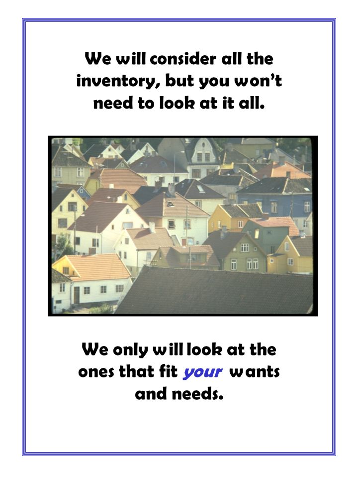 After we select the homes that best suit you......