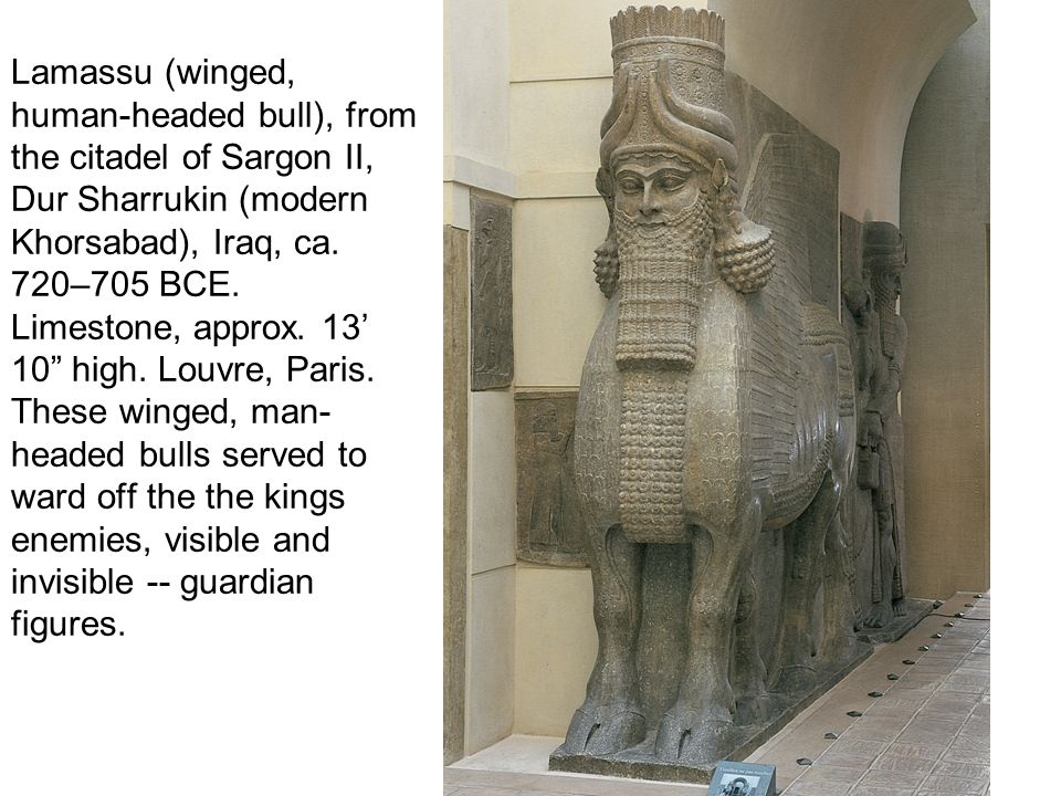 Lamassu (winged, human-headed bull), from the citadel of Sargon II, Dur Sharrukin (modern Khorsabad), Iraq, ca.