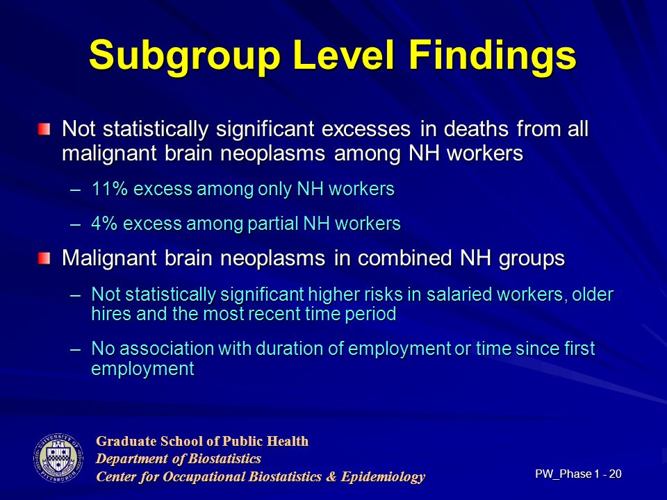 Graduate School of Public Health Department of Biostatistics Center for Occupational Biostatistics & Epidemiology PW_Phase Subgroup Level Findings Not statistically significant excesses in deaths from all malignant brain neoplasms among NH workers –11% excess among only NH workers –4% excess among partial NH workers Malignant brain neoplasms in combined NH groups –Not statistically significant higher risks in salaried workers, older hires and the most recent time period –No association with duration of employment or time since first employment