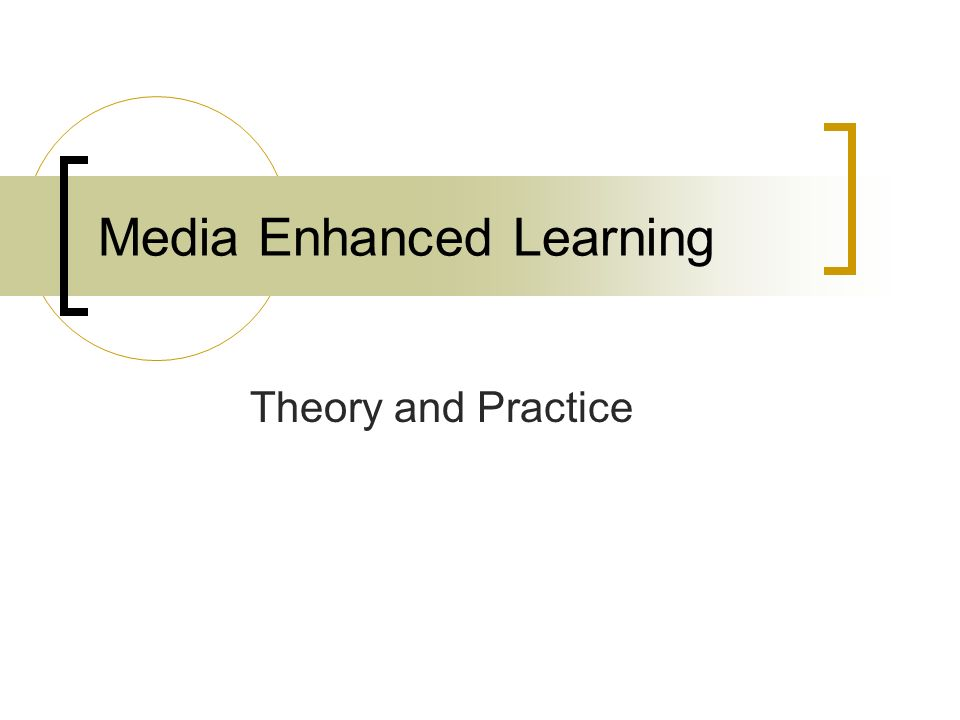 Media Enhanced Learning Theory and Practice