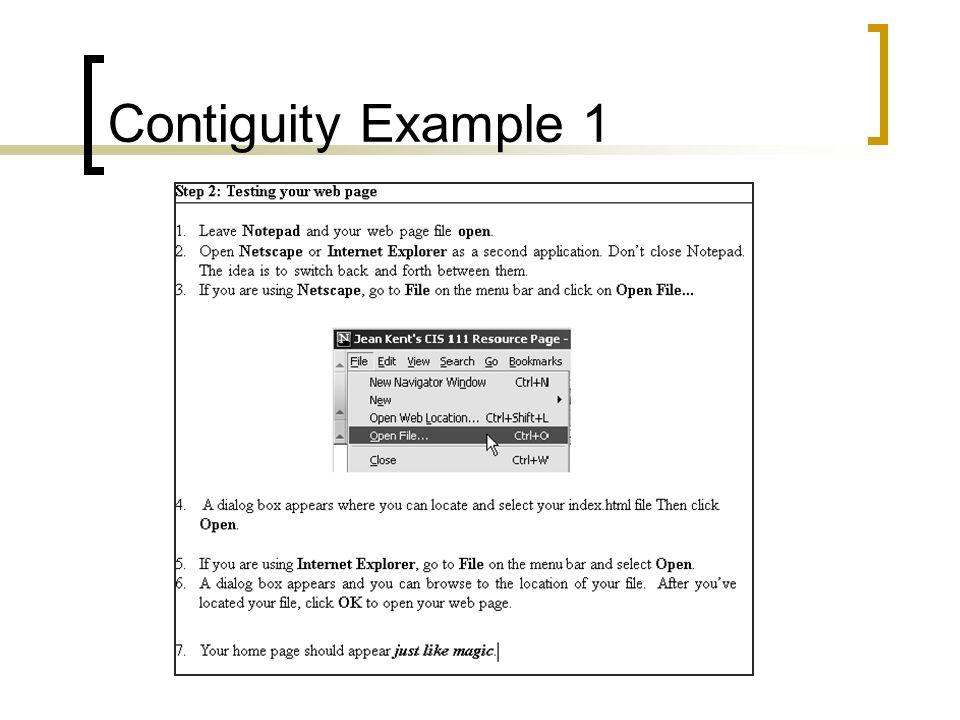 Contiguity Example 1