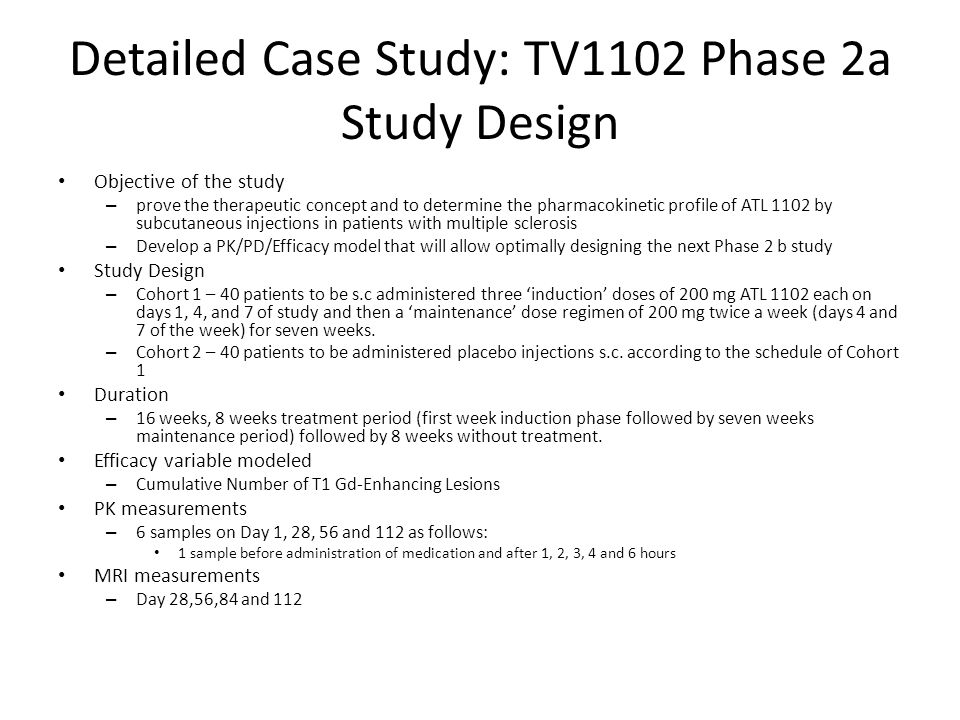 Detailed Case Study: TV1102 Phase 2a Study Design Objective of the study – prove the therapeutic concept and to determine the pharmacokinetic profile
