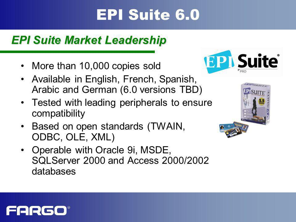 EPI Suite 6.0 More than 10,000 copies sold Available in English, French, Spanish, Arabic and German (6.0 versions TBD) Tested with leading peripherals