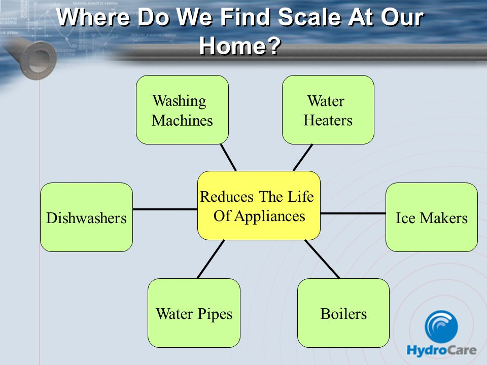 Where Do We Find Scale At Our Home? Ice Makers BoilersWater Pipes Water Heaters Dishwashers Washing Machines Reduces The Life Of Appliances