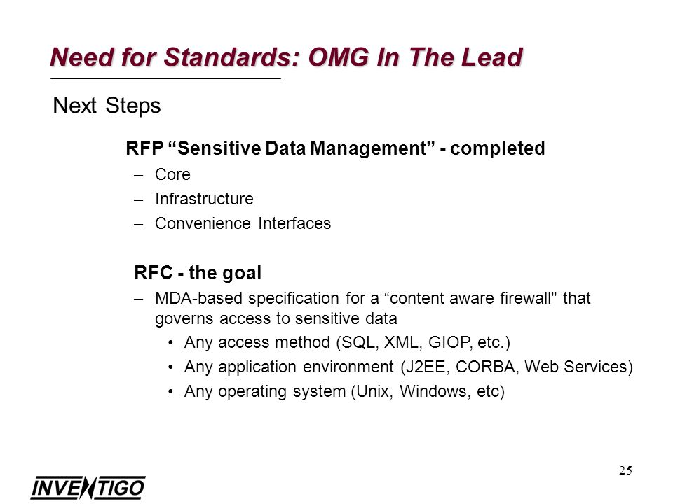 25 Need for Standards: OMG In The Lead Next Steps RFP Sensitive Data Management - completed –Core –Infrastructure –Convenience Interfaces RFC - the goal –MDA-based specification for a content aware firewall that governs access to sensitive data Any access method (SQL, XML, GIOP, etc.) Any application environment (J2EE, CORBA, Web Services) Any operating system (Unix, Windows, etc)