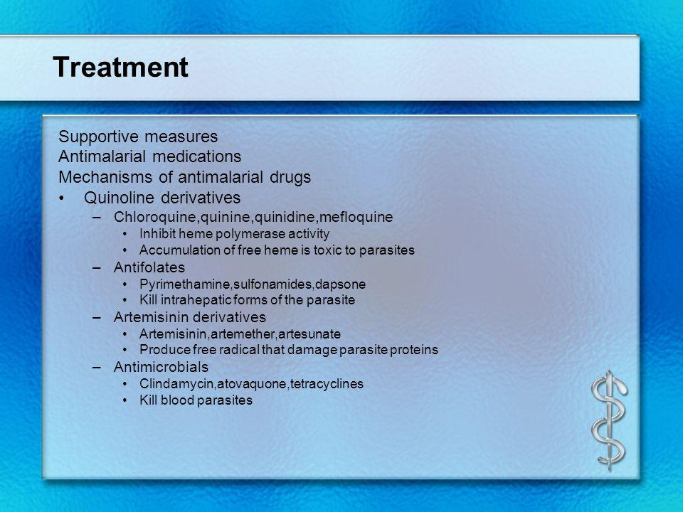 Treatment Supportive measures Antimalarial medications Mechanisms of antimalarial drugs Quinoline derivatives –Chloroquine,quinine,quinidine,mefloquin