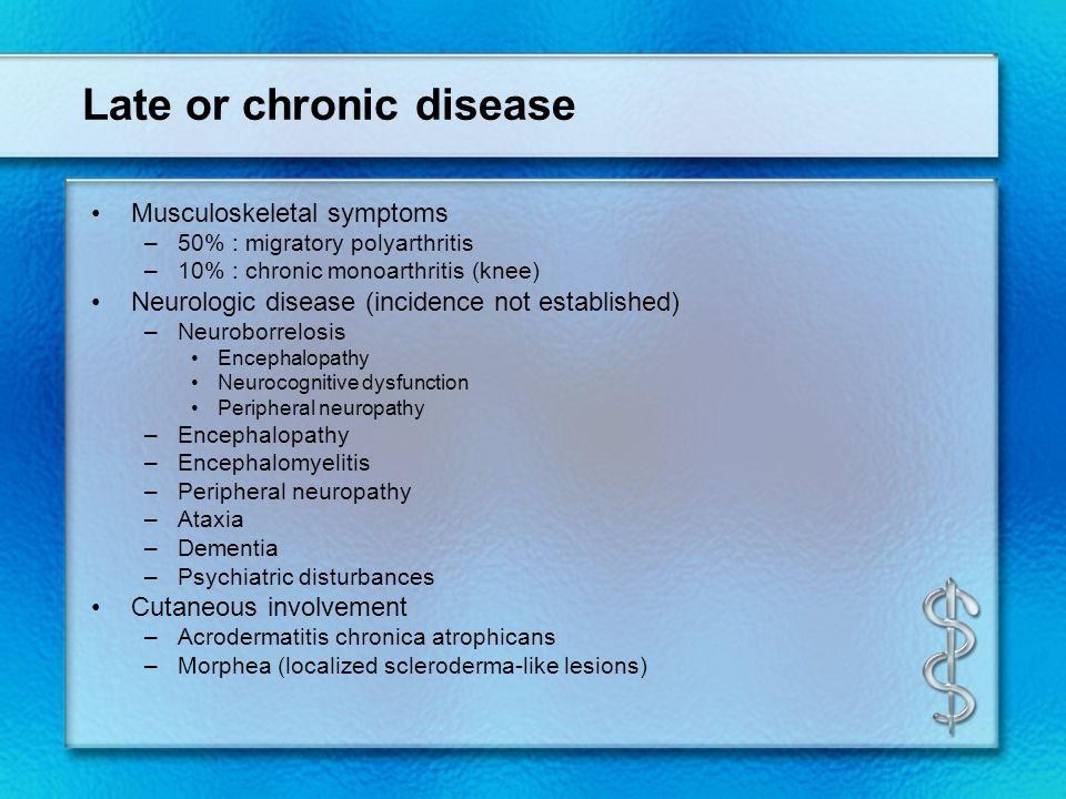 Late or chronic disease Musculoskeletal symptoms –50% : migratory polyarthritis –10% : chronic monoarthritis (knee) Neurologic disease (incidence not