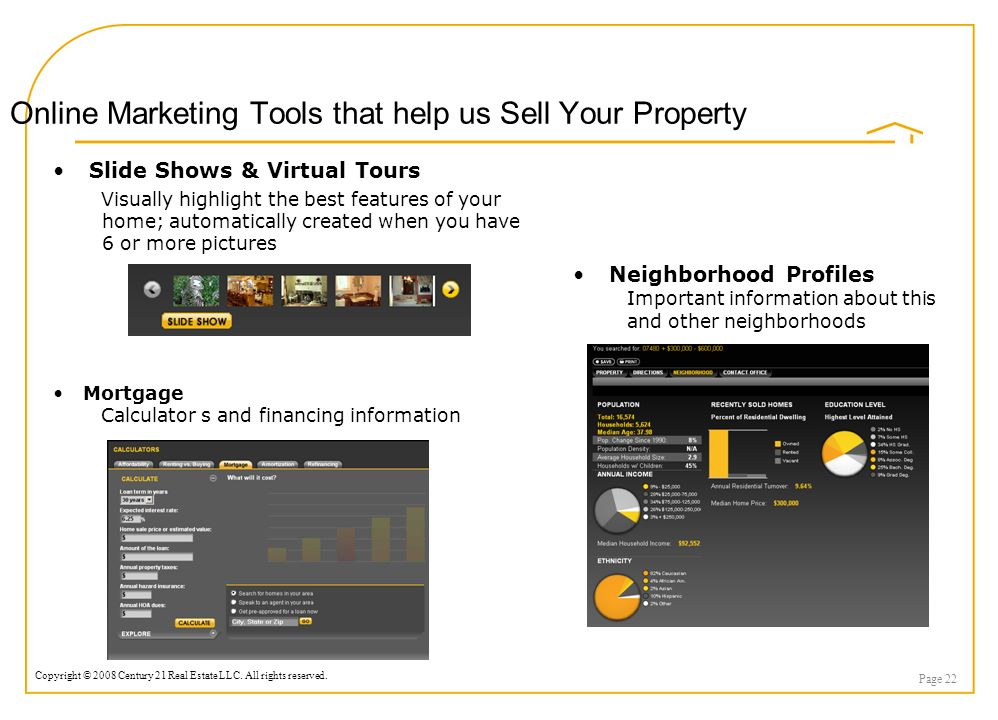 Copyright © 2008 Century 21 Real Estate LLC. All rights reserved. Page 22 Online Marketing Tools that help us Sell Your Property Slide Shows & Virtual