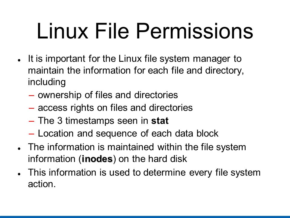Linux Basic Admin Tools chown owner[:group] files Change ownership of files and directories (available for root only) Examples: chown guest:guest file1 dir2 change ownership of file1 and dir2 to user guest and group guest chown guest dir2 change ownership of dir2 to user guest but leave the group the same chown :guest file1 change ownership of file1 to group guest but leave the user the same (use chgrp instead)