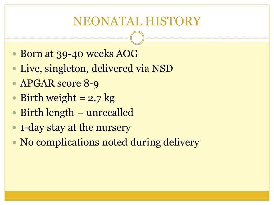 FEEDING HISTORY Breastfed exclusively for 1 month More than 8 times per day or everytime child cries Shifted to milk formula Mother claimed she was not producing enough milk Bottlefed since 2 months until present 2-5 months: S26 – 1:2 dilution, 4 oz per feeding, 6x /day 6 months to present: Bonamil – 1:2 dilution, 8 oz per feeding, 4-5x/day Complementary feeding started at 6 months Cerelac and pureed food