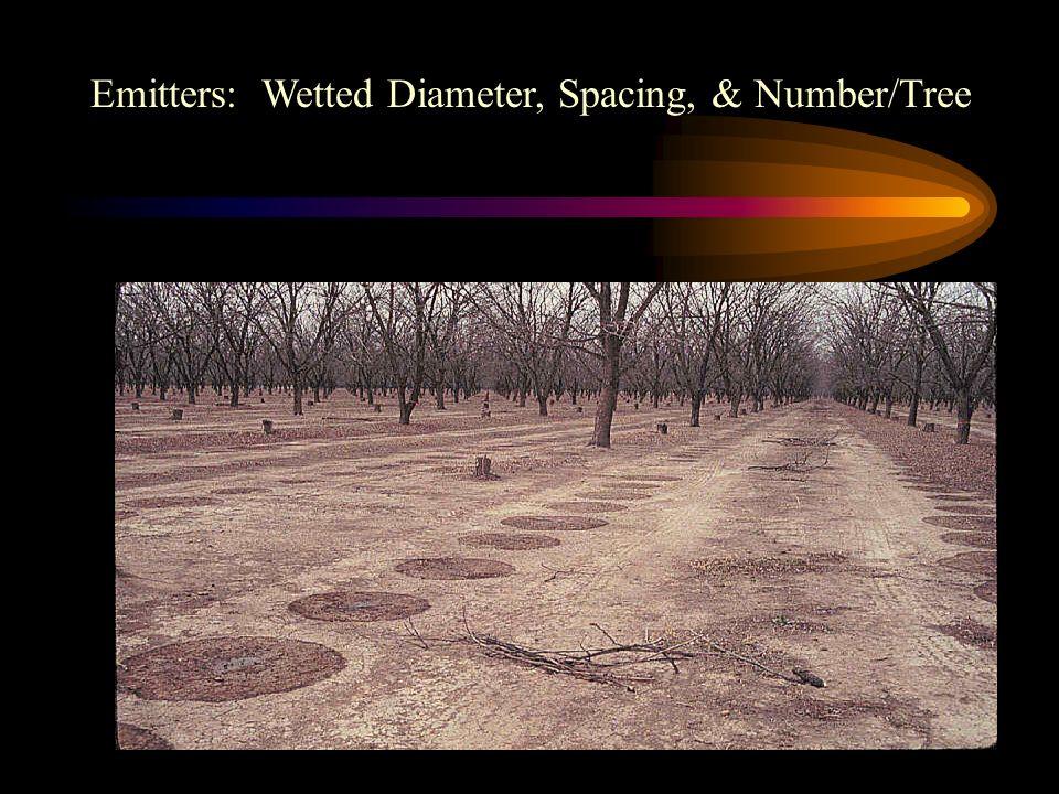 Emitters: Wetted Diameter, Spacing, & Number/Tree