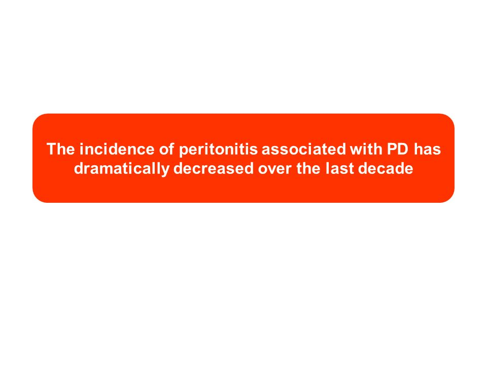 The incidence of peritonitis associated with PD has dramatically decreased over the last decade