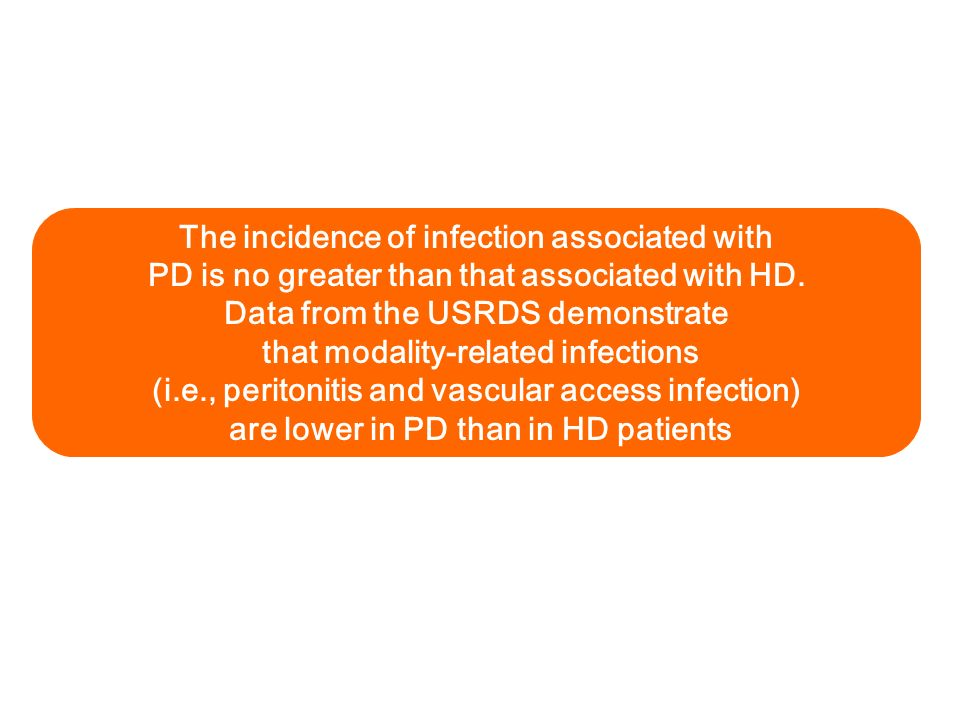 The incidence of infection associated with PD is no greater than that associated with HD. Data from the USRDS demonstrate that modality-related infect