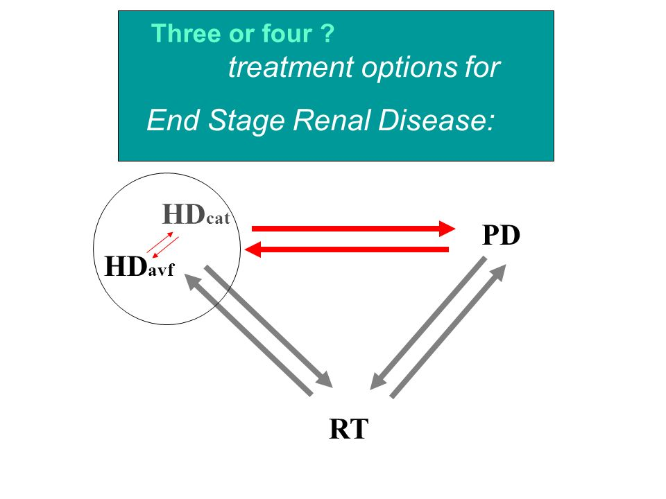 HD avf RT PD HD cat treatment options for End Stage Renal Disease: Three or four ?
