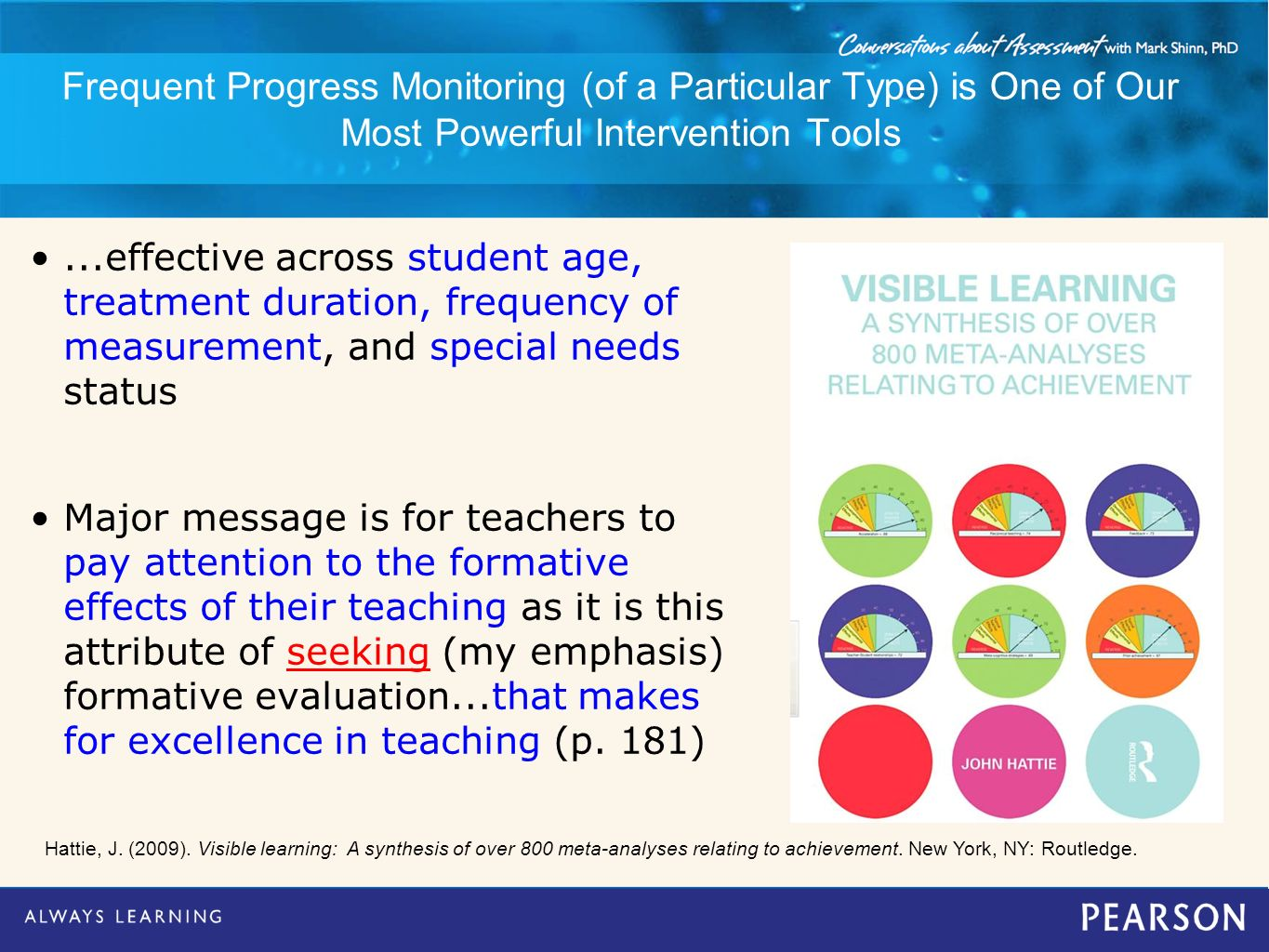 Frequent Progress Monitoring (of a Particular Type) is One of Our Most Powerful Intervention Tools...effective across student age, treatment duration,