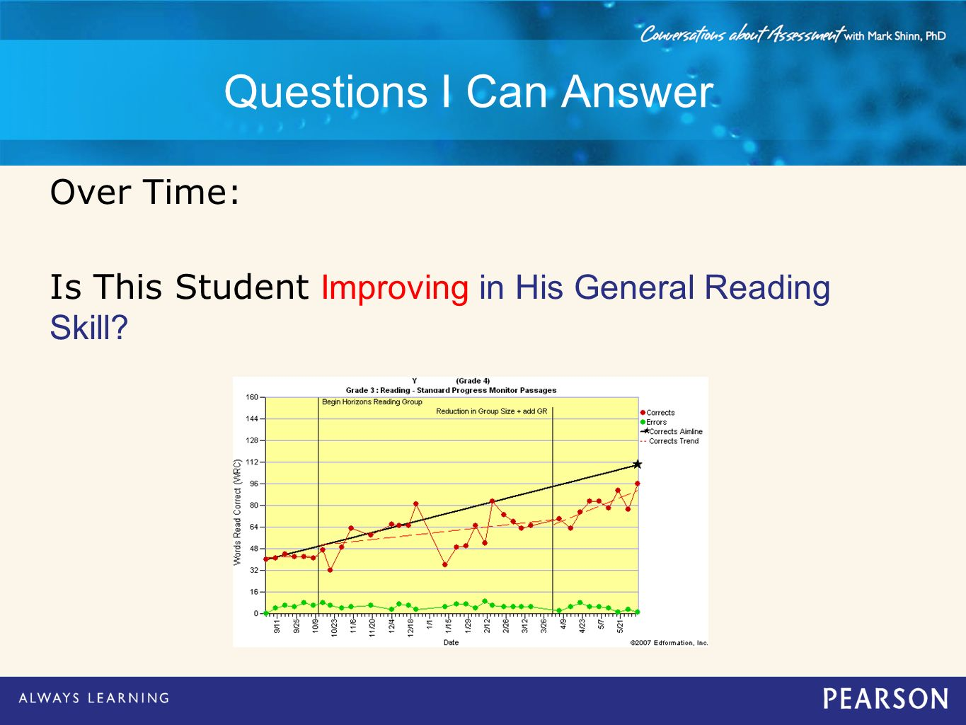Questions I Can Answer Over Time: Is This Student Improving in His General Reading Skill?