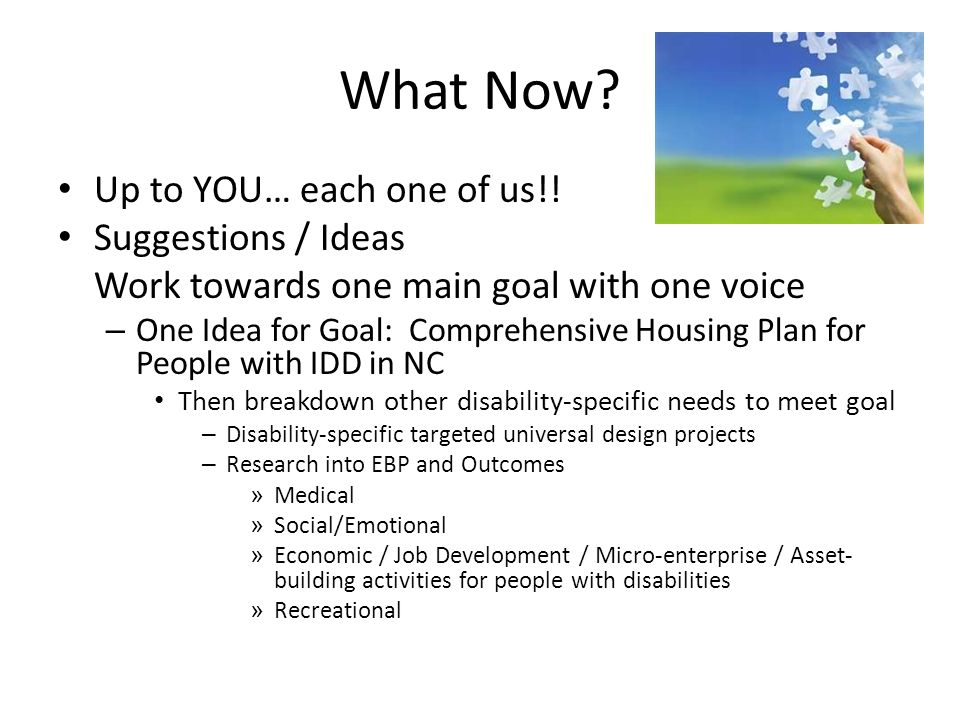What Now? Up to YOU… each one of us!! Suggestions / Ideas Work towards one main goal with one voice – One Idea for Goal: Comprehensive Housing Plan fo