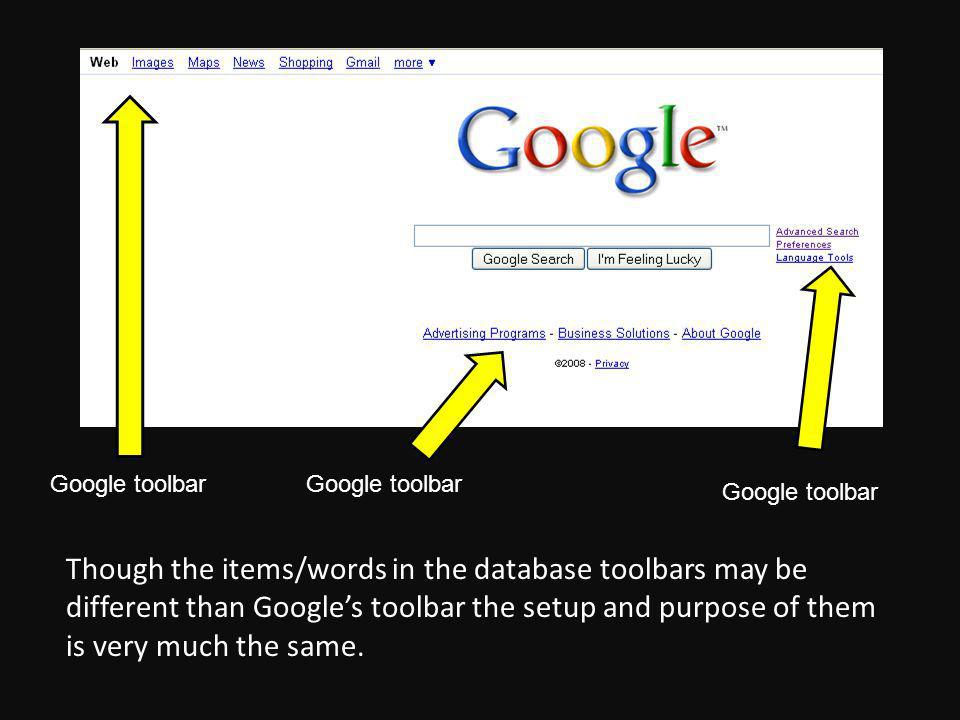 Google toolbar Though the items/words in the database toolbars may be different than Googles toolbar the setup and purpose of them is very much the same.