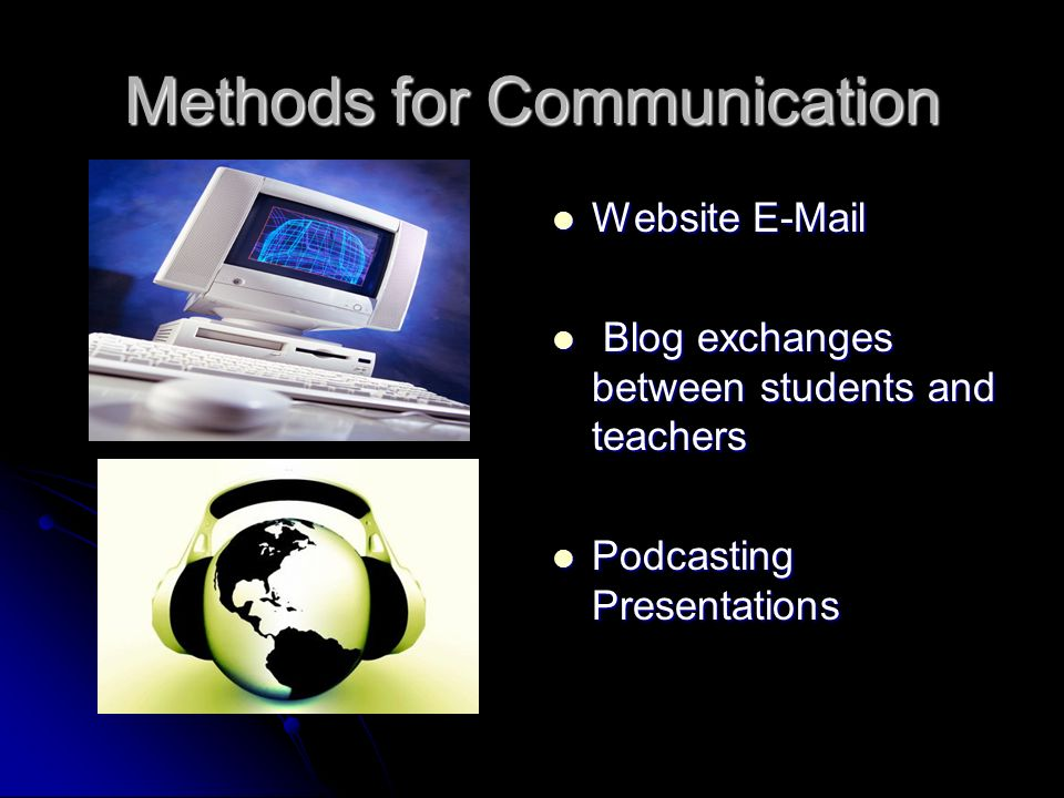 Methods for Communication Website E-Mail Website E-Mail Blog exchanges between students and teachers Blog exchanges between students and teachers Podc
