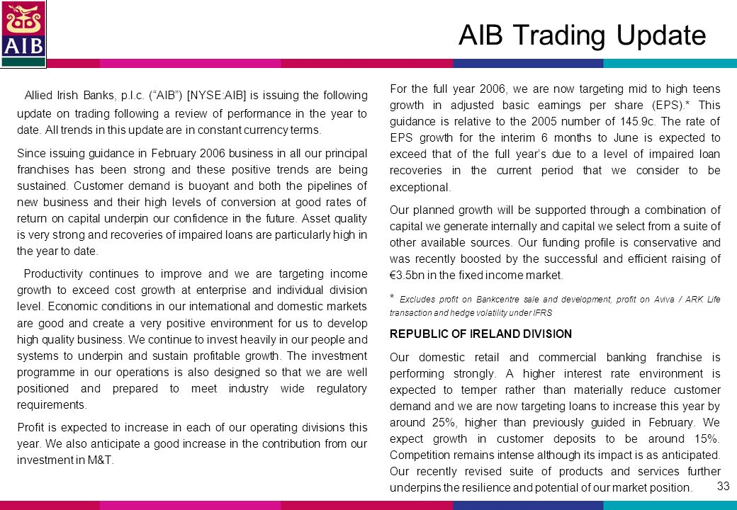 33 AIB Trading Update Allied Irish Banks, p.l.c.