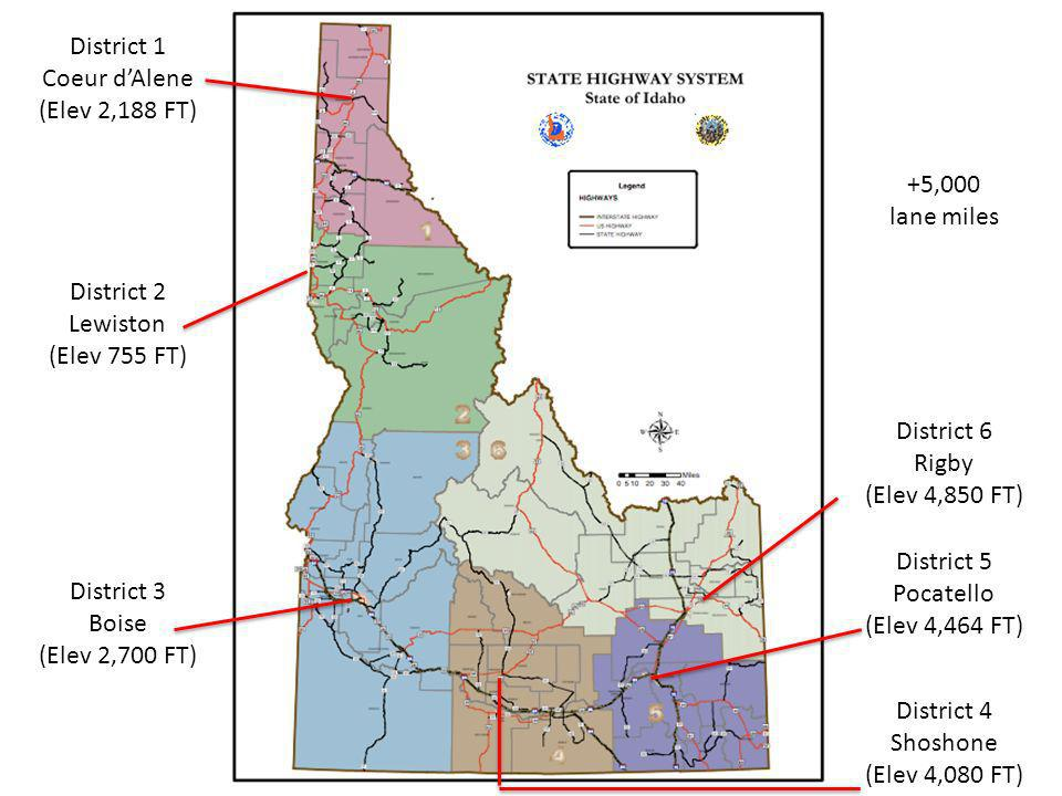 District 1 Coeur dAlene (Elev 2,188 FT) District 2 Lewiston (Elev 755 FT) District 3 Boise (Elev 2,700 FT) District 6 Rigby (Elev 4,850 FT) District 5 Pocatello (Elev 4,464 FT) District 4 Shoshone (Elev 4,080 FT) +5,000 lane miles