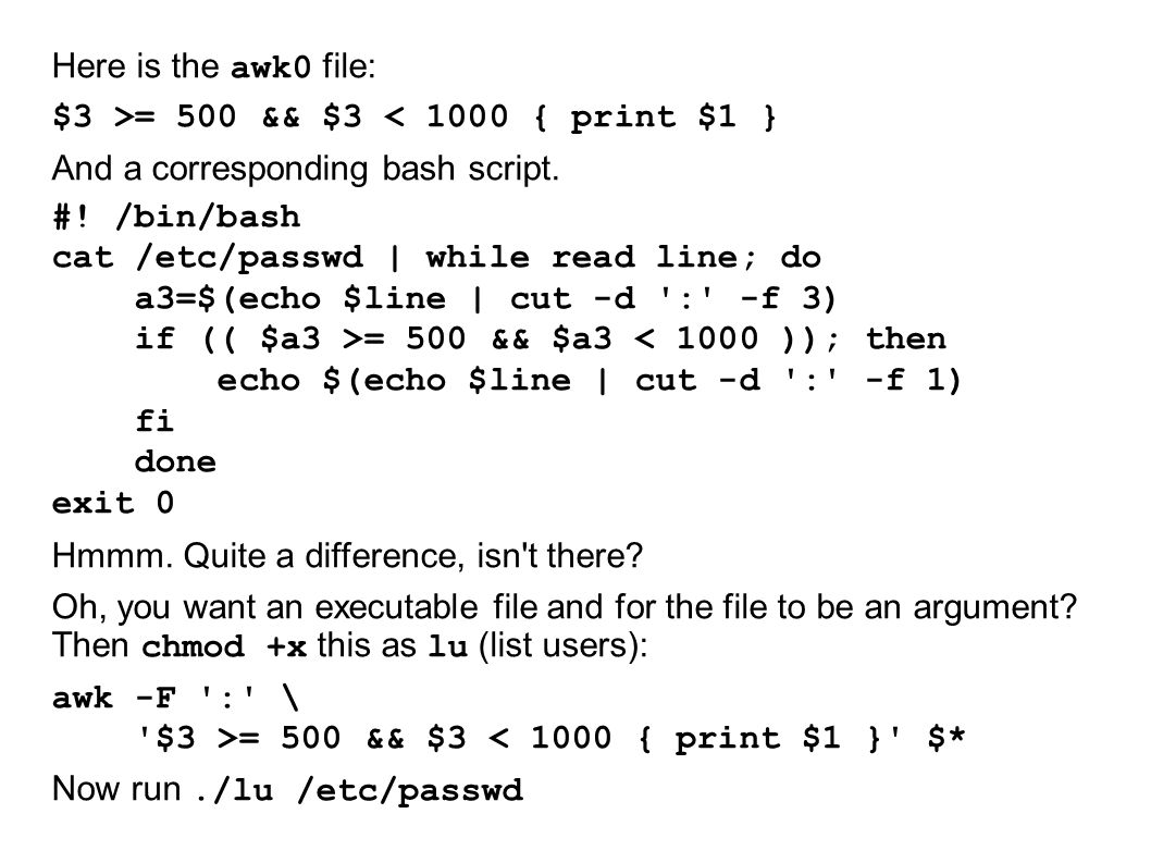 Here is the awk0 file: $3 >= 500 && $3 < 1000 { print $1 } And a corresponding bash script.