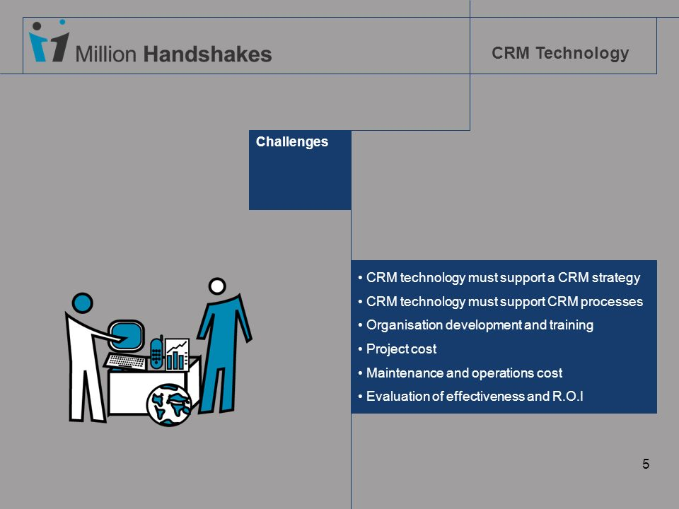 CRM Technology 5 Challenges CRM technology must support a CRM strategy CRM technology must support CRM processes Organisation development and training