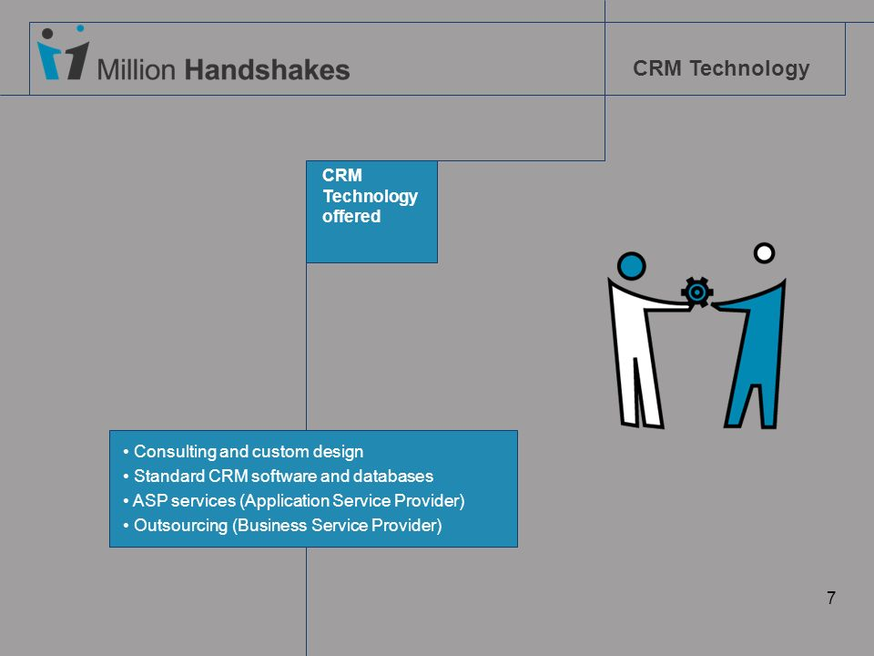CRM Technology 7 CRM Technology offered Consulting and custom design Standard CRM software and databases ASP services (Application Service Provider) O