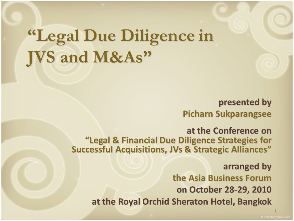 2 LEGAL DUE DILIGENCE IN JVS AND M&As I.