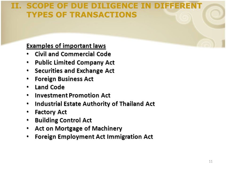 11 II.SCOPE OF DUE DILIGENCE IN DIFFERENT TYPES OF TRANSACTIONS Examples of important laws Civil and Commercial Code Civil and Commercial Code Public