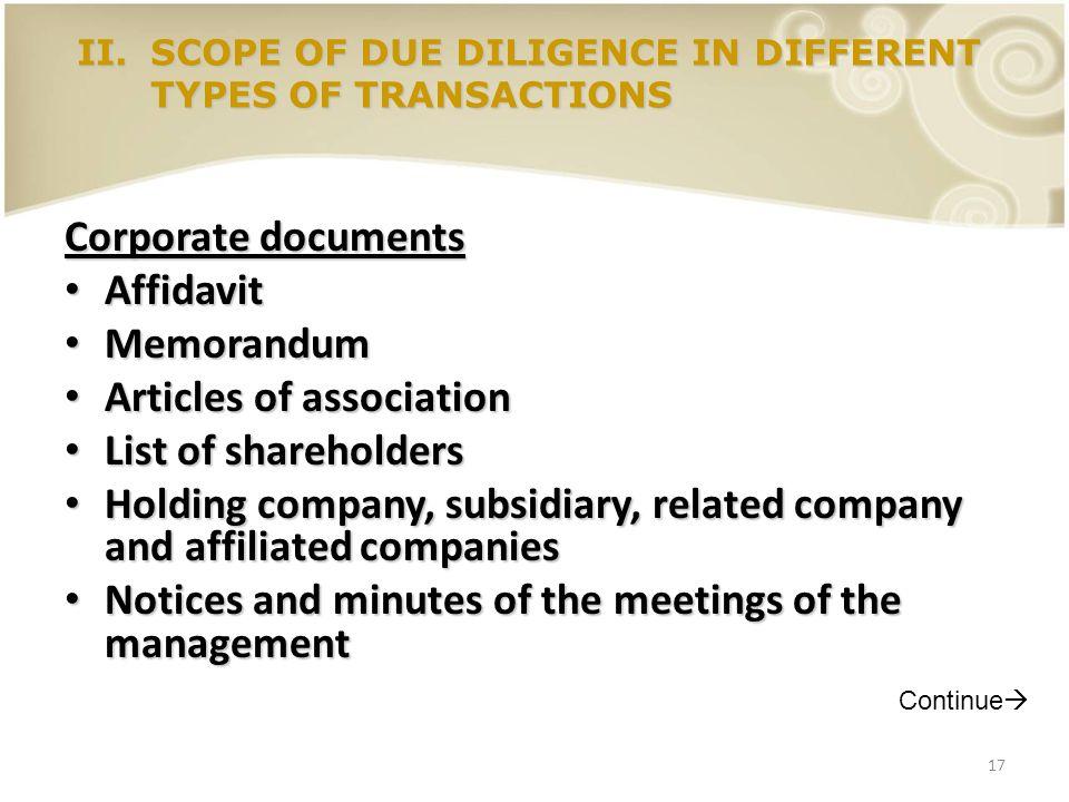 17 Corporate documents Affidavit Affidavit Memorandum Memorandum Articles of association Articles of association List of shareholders List of sharehol