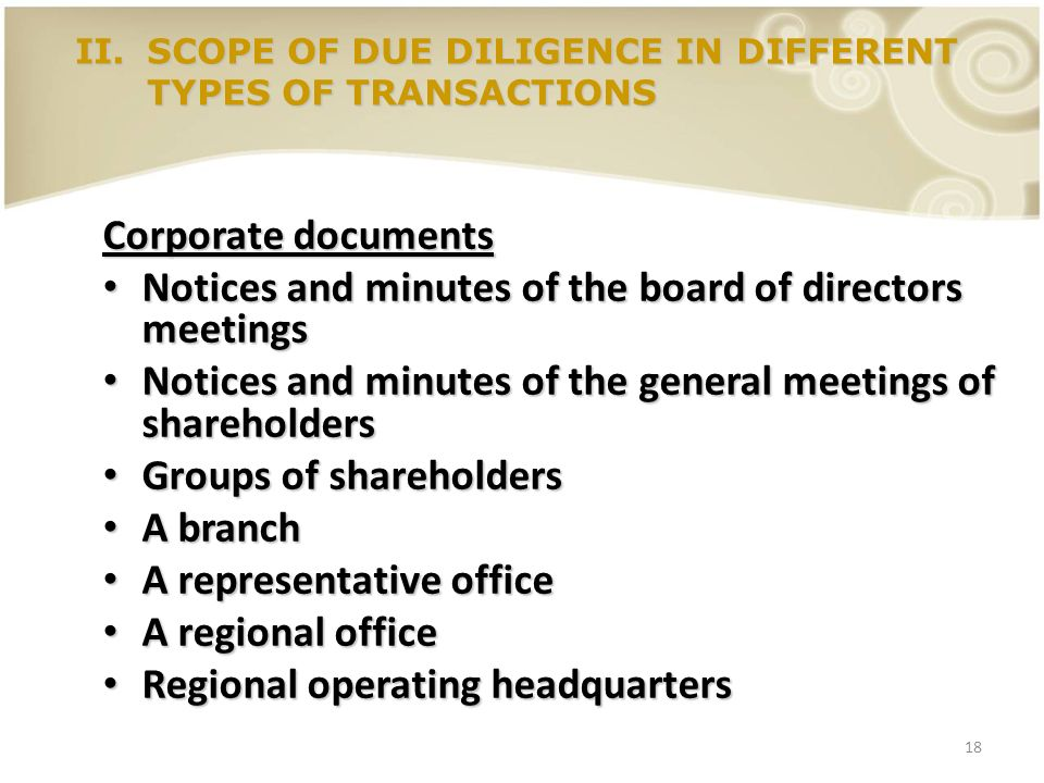 18 Corporate documents Notices and minutes of the board of directors meetings Notices and minutes of the board of directors meetings Notices and minut