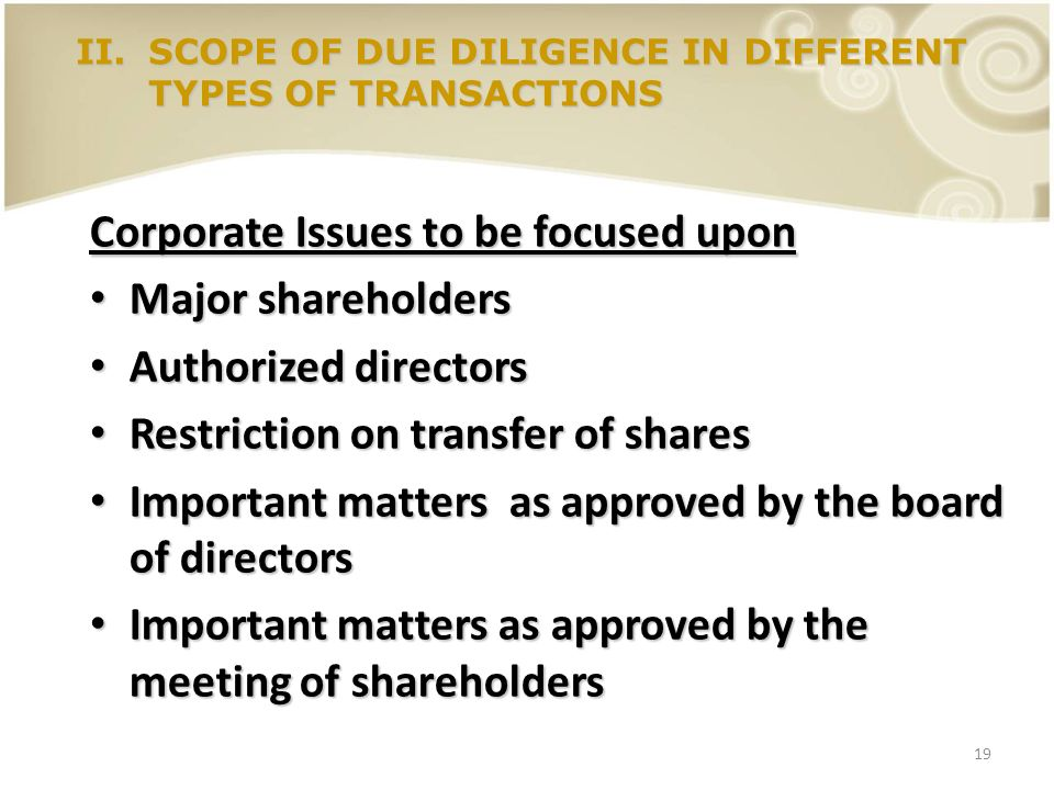 19 Corporate Issues to be focused upon Major shareholders Major shareholders Authorized directors Authorized directors Restriction on transfer of shar