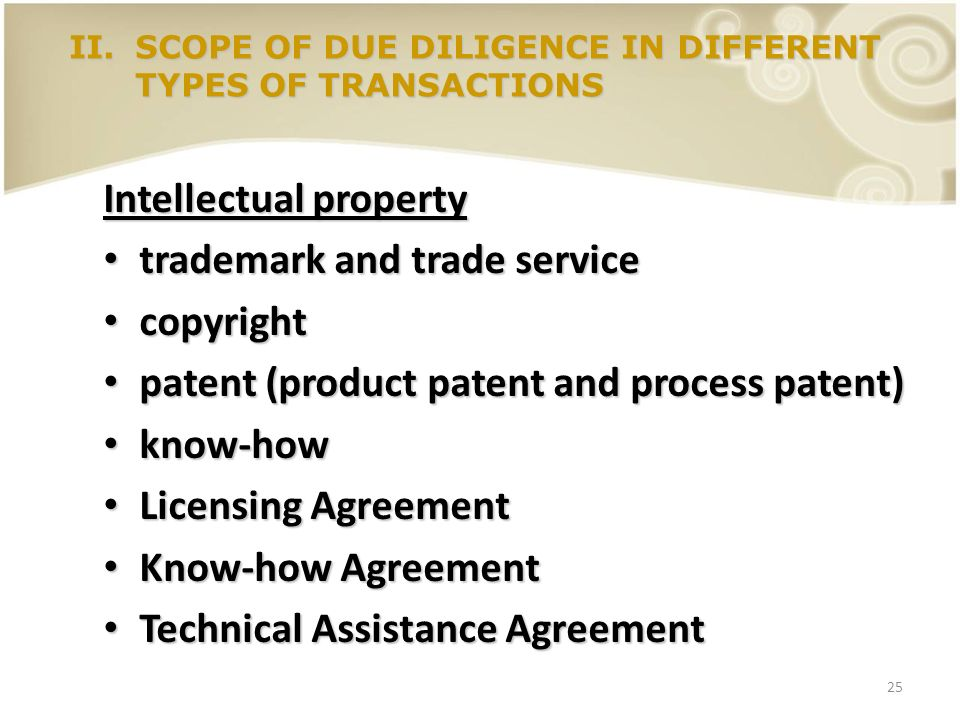 25 Intellectual property trademark and trade service trademark and trade service copyright copyright patent (product patent and process patent) patent