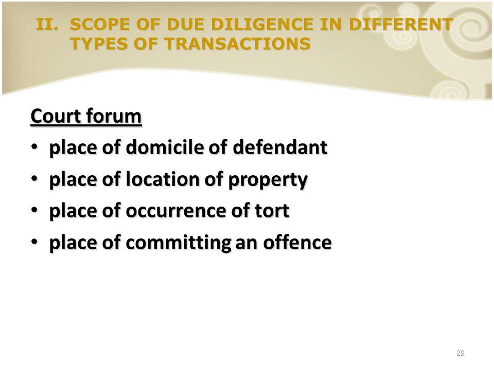 29 Court forum place of domicile of defendant place of domicile of defendant place of location of property place of location of property place of occu