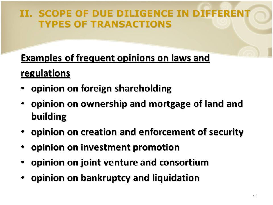32 Examples of frequent opinions on laws and regulations opinion on foreign shareholding opinion on foreign shareholding opinion on ownership and mort