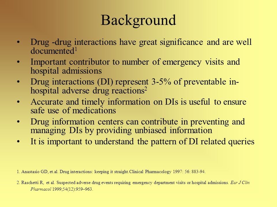 Background Drug -drug interactions have great significance and are well documented 1 Important contributor to number of emergency visits and hospital