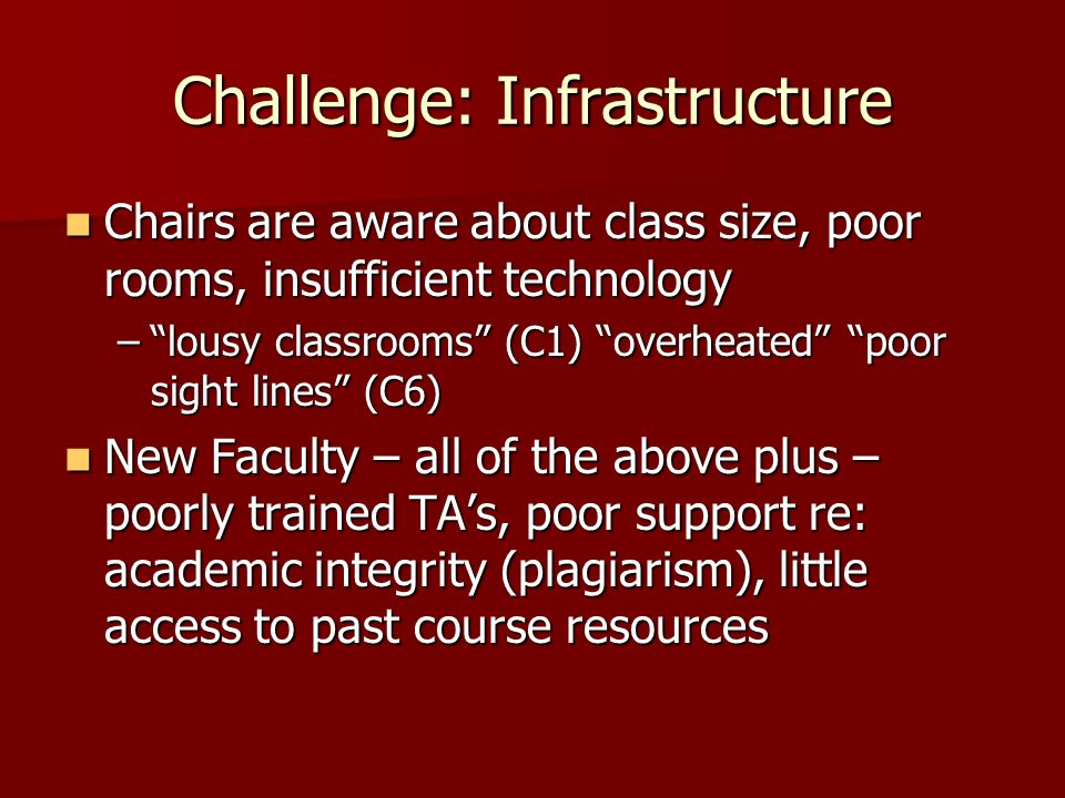 Challenge: Infrastructure Chairs are aware about class size, poor rooms, insufficient technology Chairs are aware about class size, poor rooms, insufficient technology –lousy classrooms (C1) overheated poor sight lines (C6) New Faculty – all of the above plus – poorly trained TAs, poor support re: academic integrity (plagiarism), little access to past course resources New Faculty – all of the above plus – poorly trained TAs, poor support re: academic integrity (plagiarism), little access to past course resources