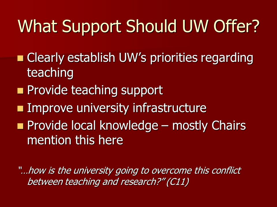 What Support Should UW Offer? Clearly establish UWs priorities regarding teaching Clearly establish UWs priorities regarding teaching Provide teaching
