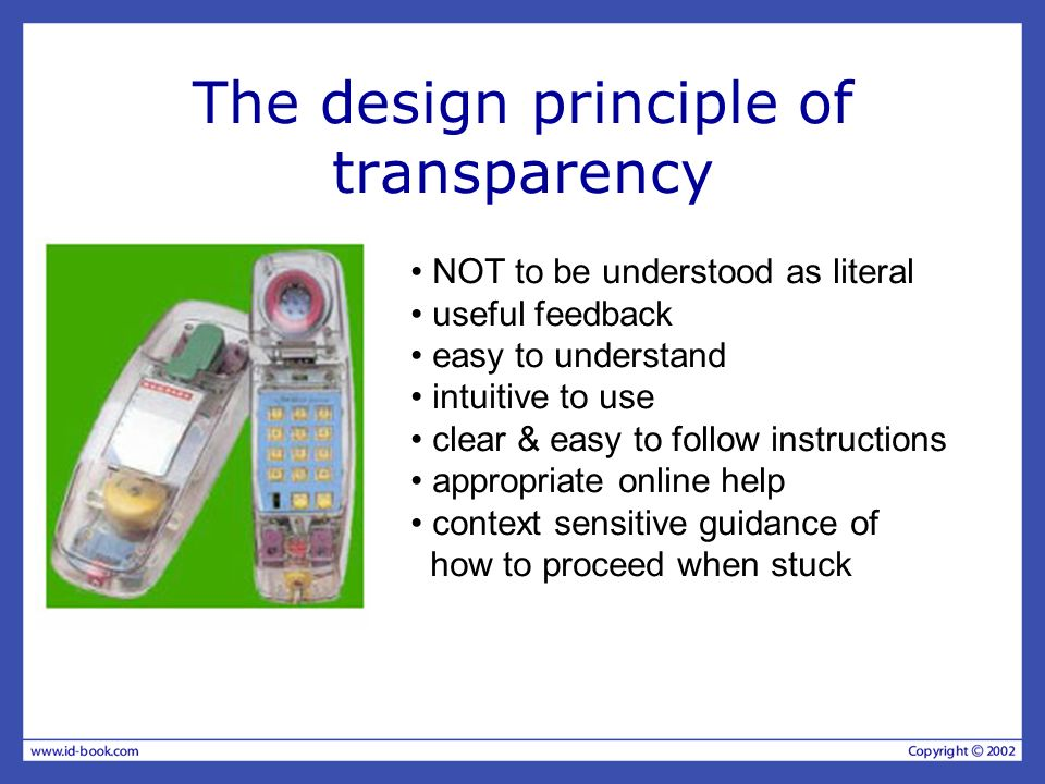 The design principle of transparency NOT to be understood as literal useful feedback easy to understand intuitive to use clear & easy to follow instru